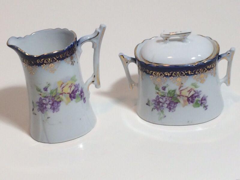 Vintage Germany Porcelain Cream and Sugar Set Floral Motif Stamped and Numbered