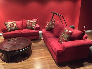 Red sofa bed set