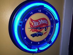 *Hot Wheels Cars Toy Store Advertising Man Cave Blue Neon Wall Clock Sign