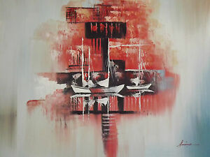 abstract-red-boats-ships-large-oil-painting-sea-ocean-fishing-sailing-original