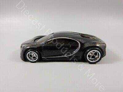 2020 Hot Wheels LOOSE CUSTOM '16 Black Bugatti Chiron w/ Real Riders 1:64 Scale