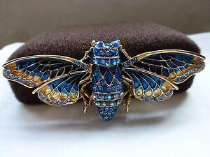 New vintage style brooch diamante blue enamel hawkshead moth brooch gift present