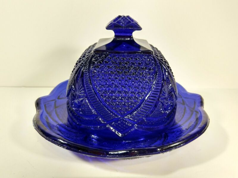 Vtg Blue Depression Glass Covered Cheese Dome Butter 2 Piece Dish Large Cobalt