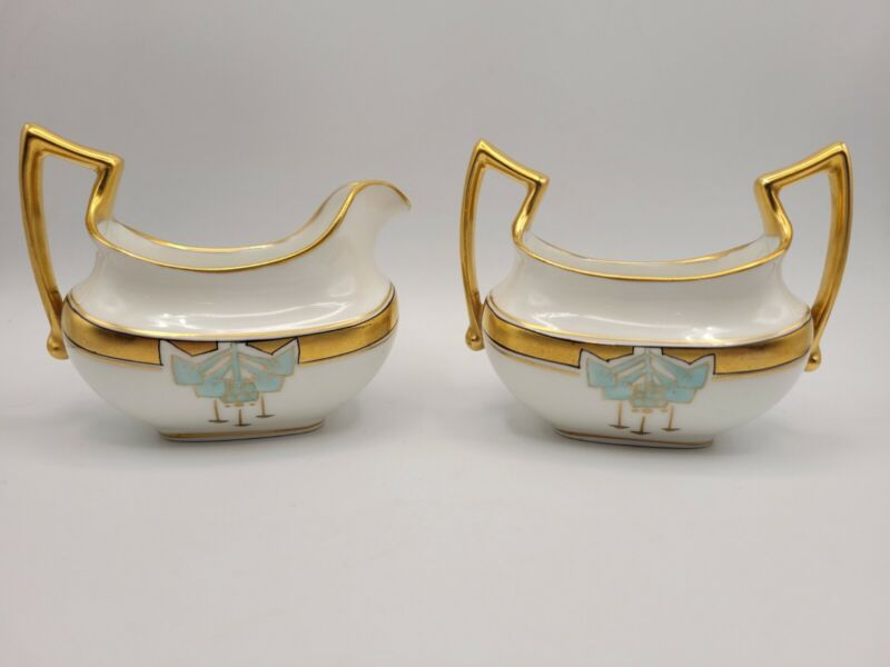 Antique Pickard Art Deco Gold Turquoise Hand Painted Sugar Creamer Set
