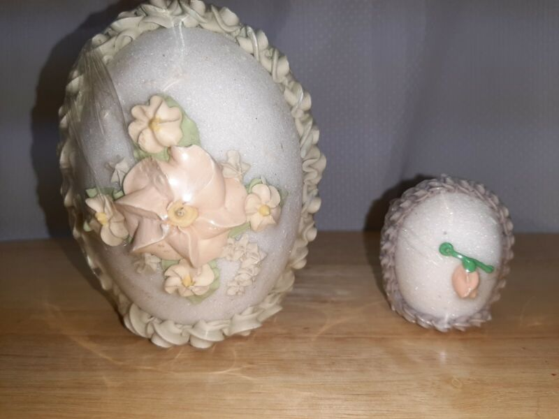 """Vtg 80s Easter Sugar Egg Diorama Faded Yellow Icing Lot of 2~ 5"""" & 2"""""""