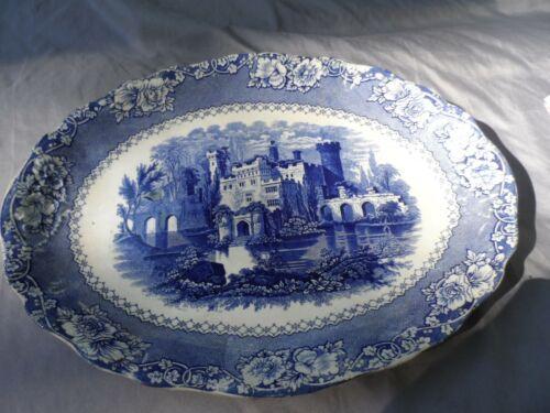 Antique Ironstone Lg Platter England Blue Transferware Castle ALHAMBRA Ca. 1800s