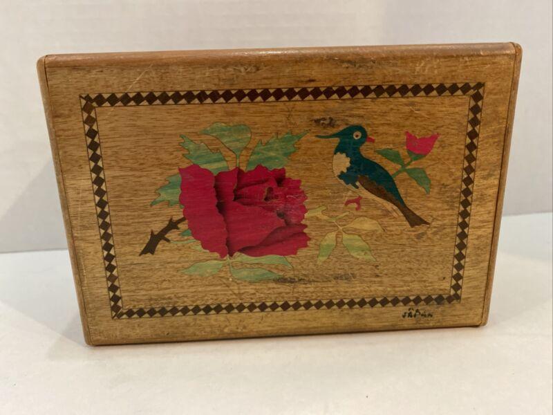 Vintage Japanese Yosegi Secret Wooden Puzzle Box Geisha Flowers Inlay