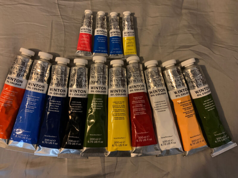 Winsor & Newton Winton Oil Colour Paint, 14 Tubes 10 are 200ml. All Are New.