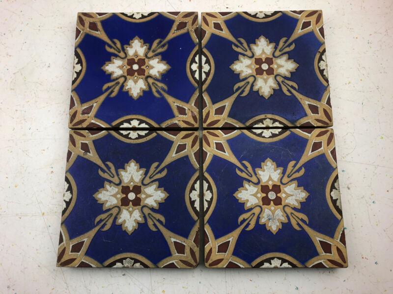 4 Antique Victorian Minton Encaustic Tiles: Stoke Upon Trent, Blue