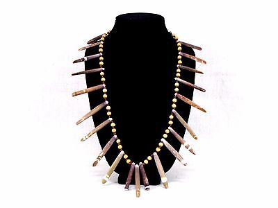 Tribal Sea Urchin Spine   Wood Bead Artisan Necklace Woven Hemp Cord