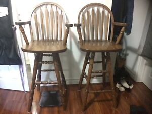 2 Wood High Chairs Used