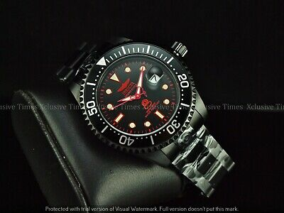 Invicta Men Stealth TripleBlack Grand Diver Power Reserve Automatic Red SS Watch