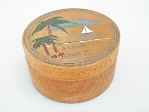 Vintage Hawaii Aloha Wood Coasters and Holder -6 Total