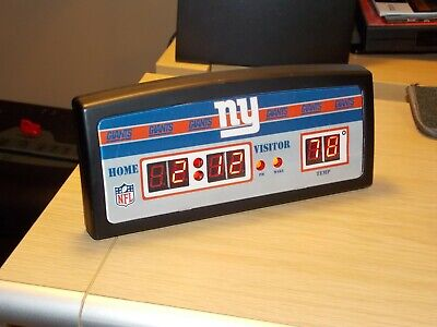 NFL Team New York Giants Football Digital LED Desk Alarm Clock with Temperature Giants Desk Clock