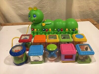 Leap Frog Green Caterpillar ABC and Fisher Price Peek A Block Learning Toy