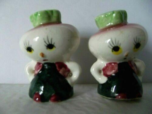 Vintage Japan Anthropomorphic Onion / Turnip Head People Salt & Pepper Shakers