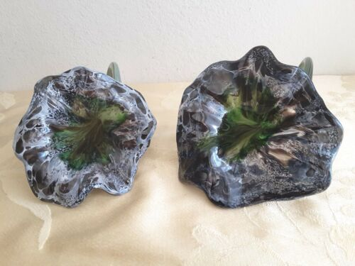 2 Hand Blown Glass Flower Sculpture Midnight  Decor USA