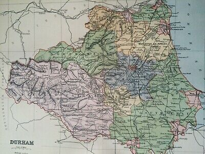 1895 Durham Original Antique Map UK England Vintage Old County