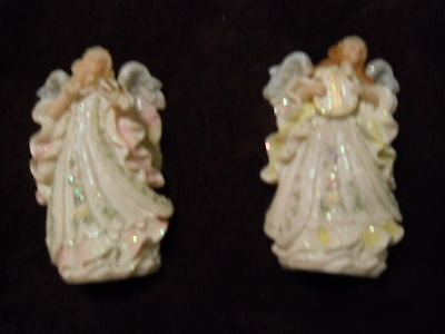 """~Set of 2 Angelic Angels - 5 """" Tall ~ Playing Harp/Violin ~ Sparkle with Detail"""