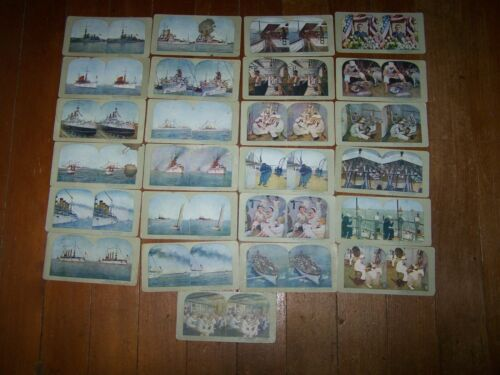 25 ANTIQUE COLOR STEREO VIEW CARDS WW1 BATTLESHIPS & CREW