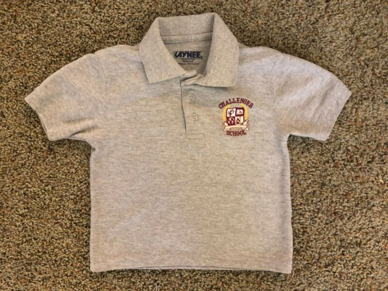 Challenger School Short Sleeve Grey Polo Shirt Youth XXS