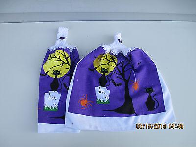 Halloween Dish Towels (2 Kitchen Dish Towels Crochet Tops Halloween Black Cat Bat Spider)
