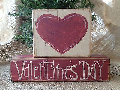 Primitive Country 2 pc Heart Valentine's Day Shelf Sitter Wood Block Set