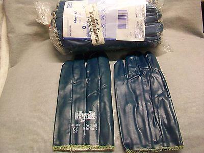 1-dozen Ansell Hynit Coated Work Gloves Nitrite Impregnated Fabric Size 8