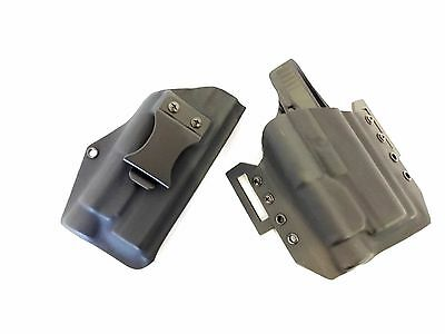 2 Holster Combo, IWB and OWB Light Bearing Kydex Holster. All Popular Gun Models