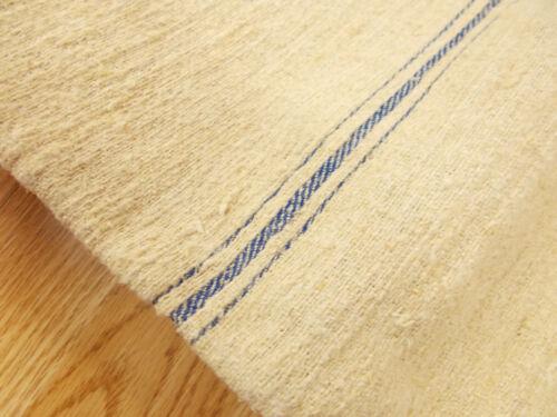 21x54 Vtg Antique BLUE STRIPE European HEMP LINEN Fabric FEED SACK GRAIN BAG