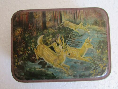 Vintage Collectible Plato Gas Mantles Ad. Antelope Print Litho Tin Box