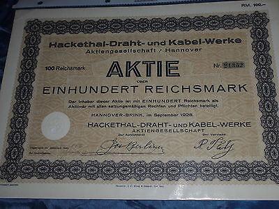 340 : histor.Wertpapier / Aktie : Hackethal Draht und Kabel , Hannover Sept.1928