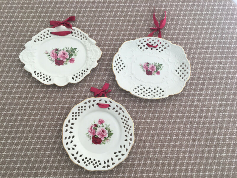 formalities Victorian Rose Collection Set of 3 Wall Plates