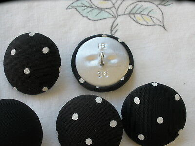 """23MM White Polka Dot Black Fabric Covered Buttons metal shank 13 pcs 7/8"""" fancy for sale  Costa Mesa"""