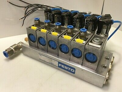 Bank Of 6 Festo Valves Mfh-3 Wh722 Manifold 34 411 Solenoid Coil 24vdc42vac