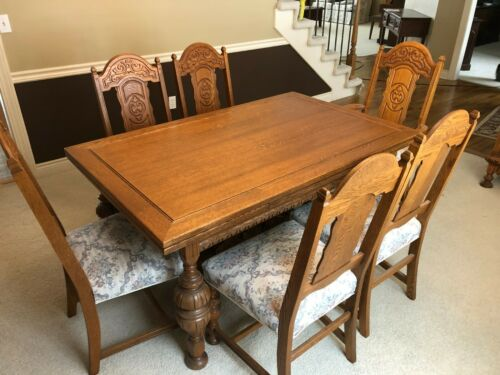 Antique Jacobean Dining Room Furniture Set Jacobean