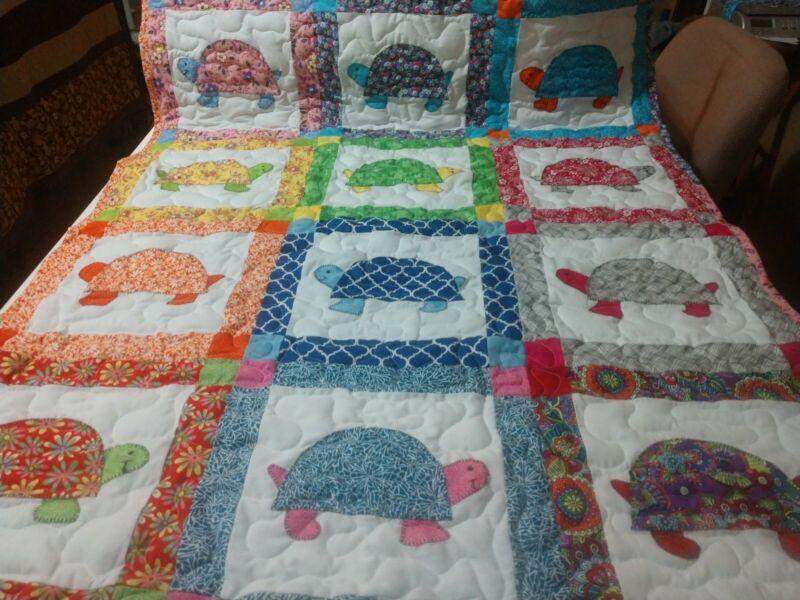 Tortoise Turtle Applique Baby Crib Lap Throw Quilt Handmade Girl Boy Blanket