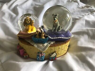 """Disney Lady and the Tramp Music Box And Double Snowglobe """"Fur Elise"""" Enesco Nice"""