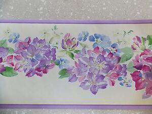 pretty fleur rose violet bordure de papier peint feuille. Black Bedroom Furniture Sets. Home Design Ideas