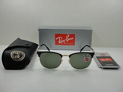 7fb814eec29 RAY-BAN POLARIZED SUNGLASSES CLUBMASTER RB3538 187 9A BLACK GREEN LENS 53MM