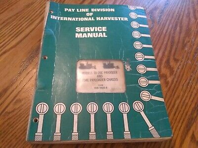 Oem Ih Models Td-20c Paydozer And 250c Payloader Chassis Service Manual