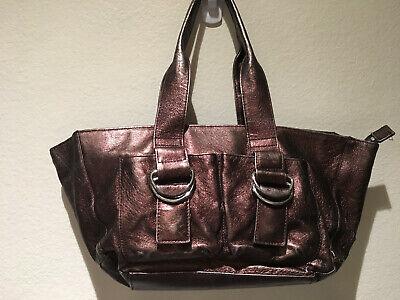 Metallic Pocket - SHIH Stephanie Lin Metallic Brown Leather Small Pocket Tote Satchel Handbag  12