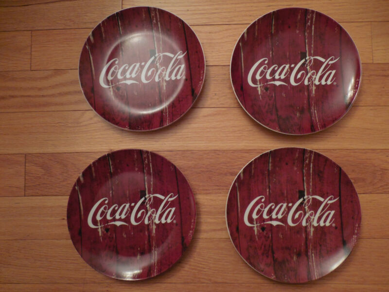 lot 4 NWT Coca Cola Red Collector Plates Dishes 7.5 in. Diameter by C.R. Gibson