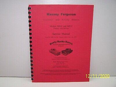 Massey Ferguson Garden Tractors Rotary Mower Service Manual For Mf10 - Mf12 Mo