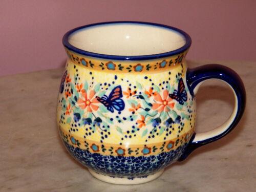Polish Pottery 16 oz. Bubble Mug!  UNIKAT Signature Butterfly Summer Pattern!