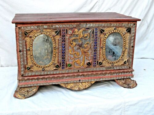 Antique Burmese Carved Wood Trunk Gilt, Mirrors and Colored Glass 19th c.