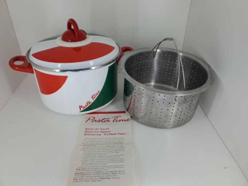PASTA TIME enamel cooking pot w/ strainer insert and WORKING timer lid EUC