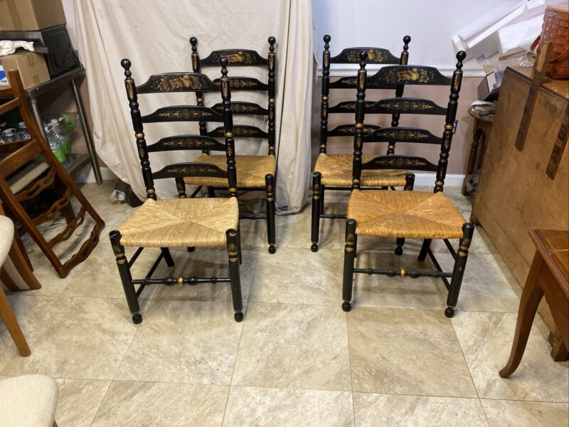 4 Original Very Nice Hitchcock Dining Cane Bottom Chairs