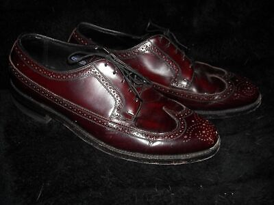 VTG 50S MENS 10 MAROON LEATHER WINGTIP FLORSHEIM BROGUE OXFORD SHOES](50s Shoes Mens)