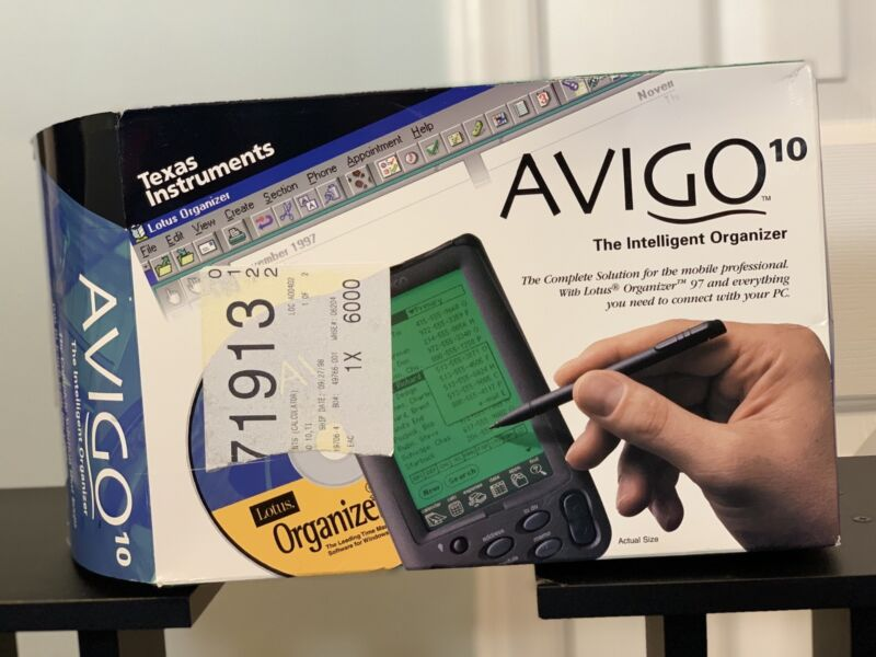 "RARE TEXAS INSTRUMENTS AVIGO 10 "" THE INTELLIGENCE ORGANIZER PDA 1997 NEW-SEALED"